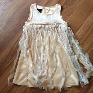 Biscotti Champagne colored dress with Lace ribbon